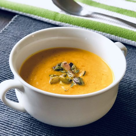 Spiced Carrot Soup with Pistachios and Rosemary