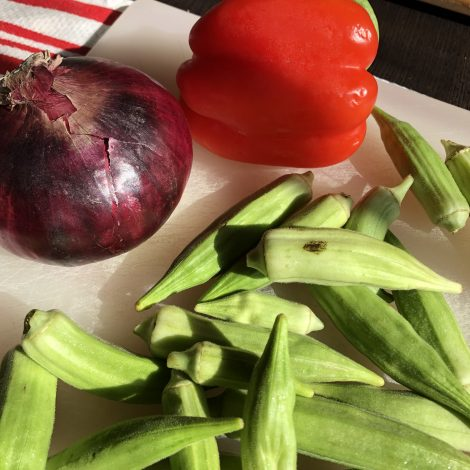Sautéed Okra with Red Onion and Red Bell Pepper